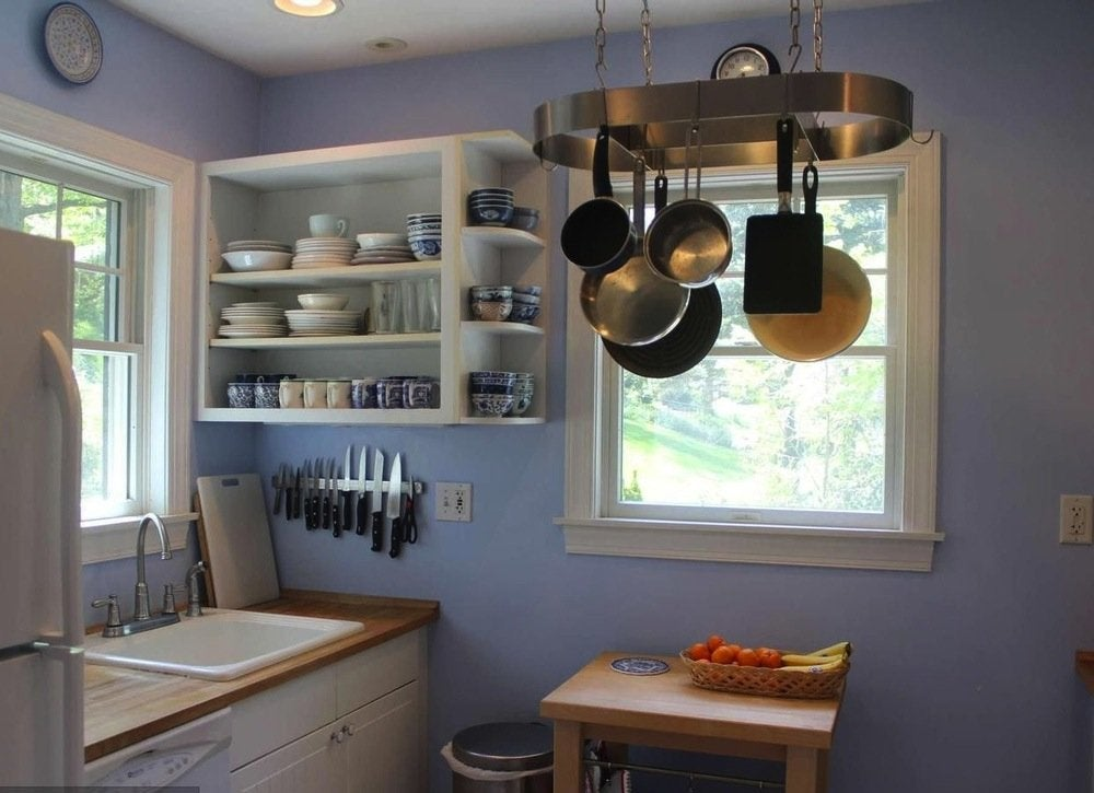 Ideas to steal from tiny homes 49707 kitchen pot rack storage 18