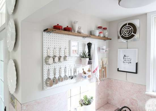 Kitchen pegboard storage
