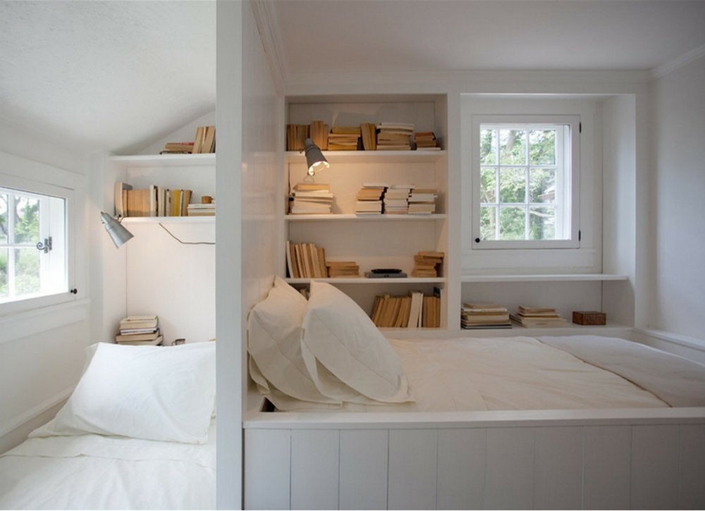Bedroom book nook 18 storage ideas for small spaces How to store books in a small bedroom