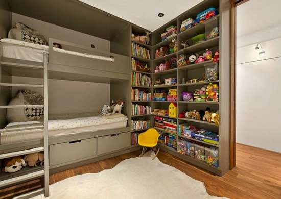 Loft bed shelving