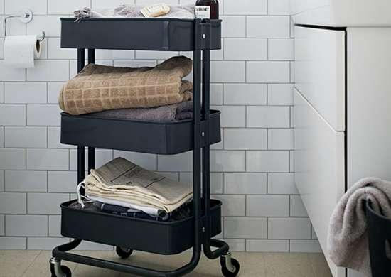 Roll in a Bar Cart for Easy Bathroom Storage