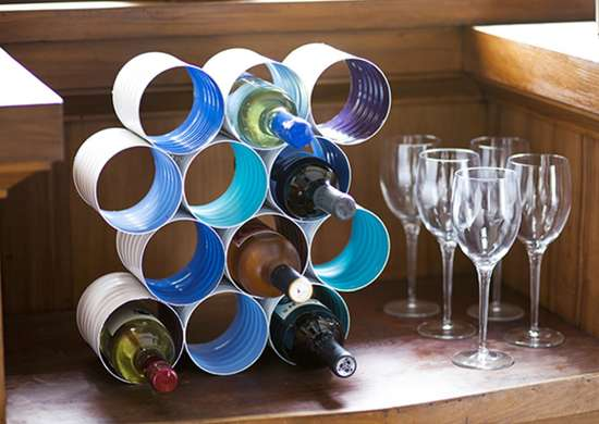 DIY This Wine Rack from Coffee Cans