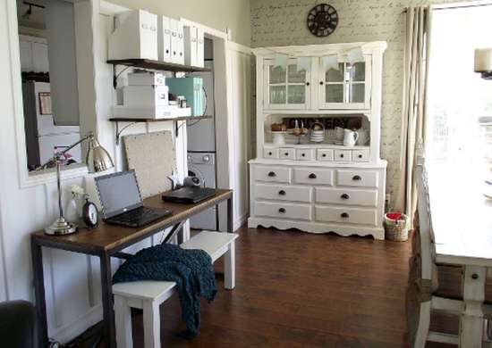 Add a desk to make a home office in the dining room. Add a desk to make a home office in the dining room   Small Dining