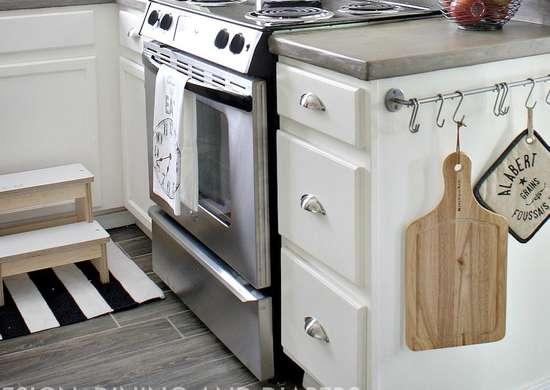 S hook storage in kitchen