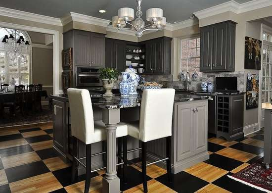 Checkerboard kitchen floor