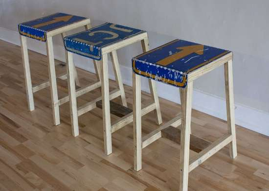 Use Old Signs to Make Stools