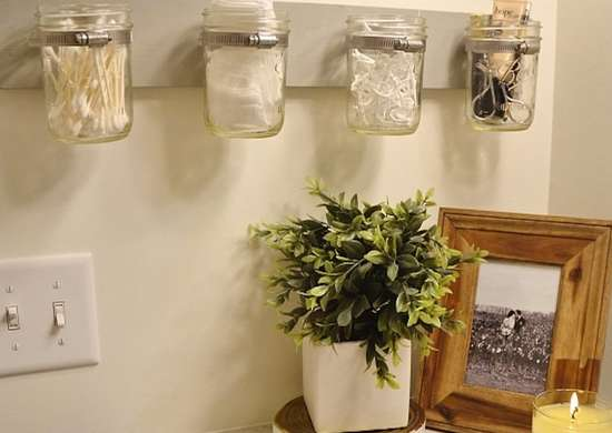Mason Jar Bathroom Storage