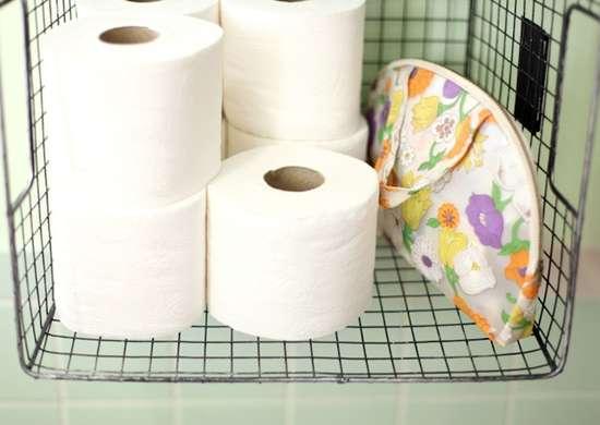 Toilet paper roll storage