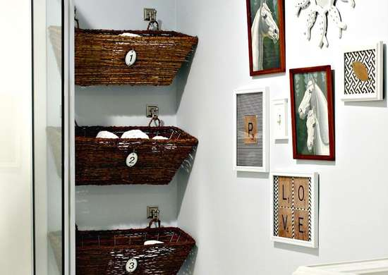 Wall-Mounted Basket Storage in the Bathroom