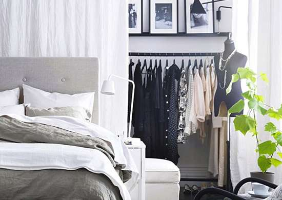 Open storage in the bedroom