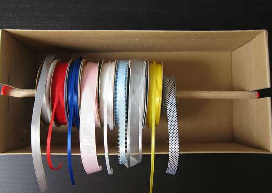 Old shoe boxes   ribbon