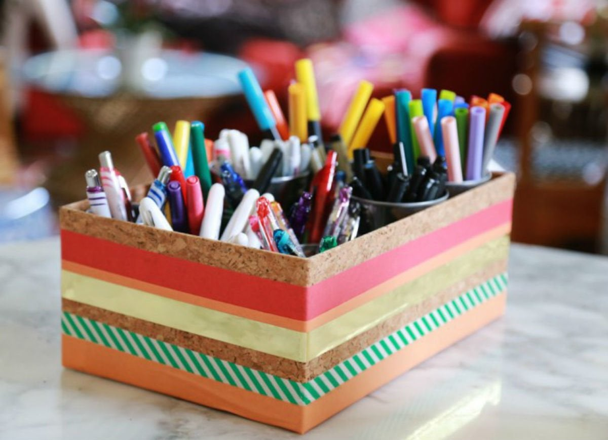 Old shoeboxes   desk organizer