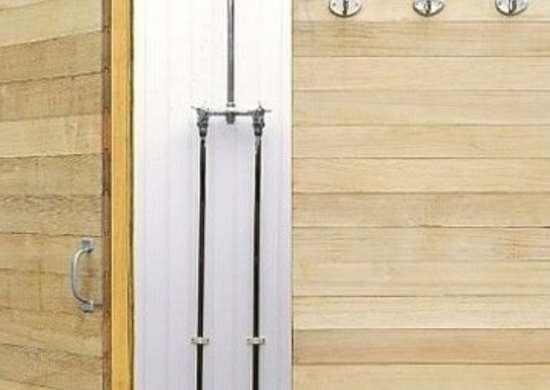 Outdoor shower fixtures range from hose hookups to backyard spas