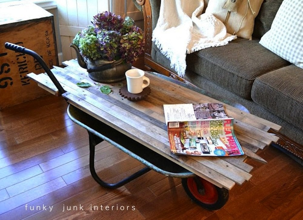Diy wheelbarrow coffee table