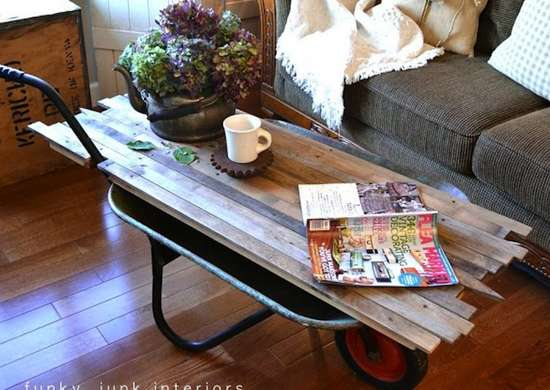 DIY Wheelbarrow Table