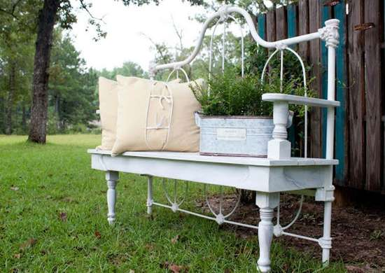Remake a Vintage Headboard as a Garden Bench