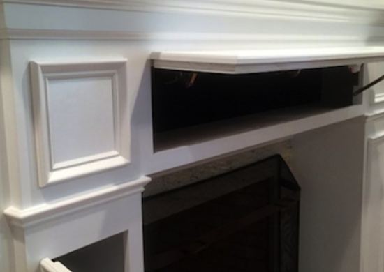 Storage fireplace mantel