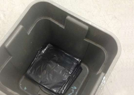 Plastic bag in trash can