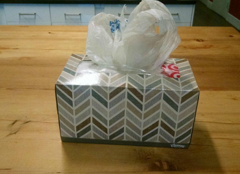 Tissue box store plastic bags