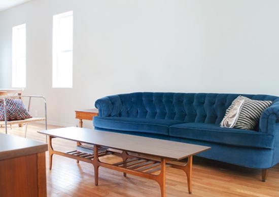 Velvet sofa after