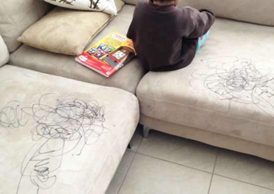 Stained Couch with Scribbles
