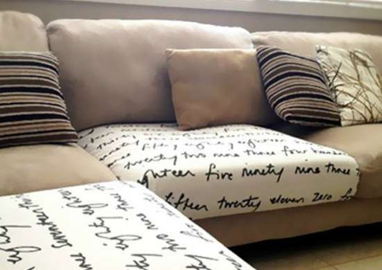 Tuck Fabric Into Sofa Cushions to Disguise Marks and Dirt