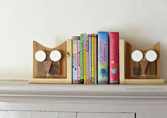 Wood owl bookends