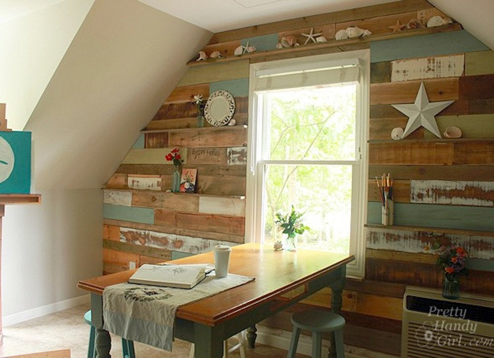 rustic diy accent wall scrap wood projects 21 easy diys to upgrade your home bob vila. Black Bedroom Furniture Sets. Home Design Ideas