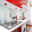 Red and White Kitchen and Laundry Room