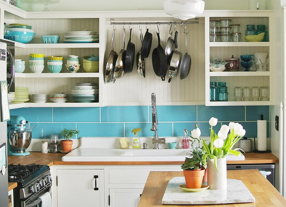 Colorful blue white kitchen