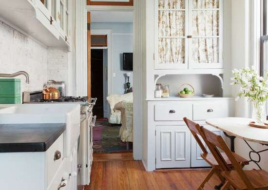Tiny farmhouse style kitchen breakfast nook