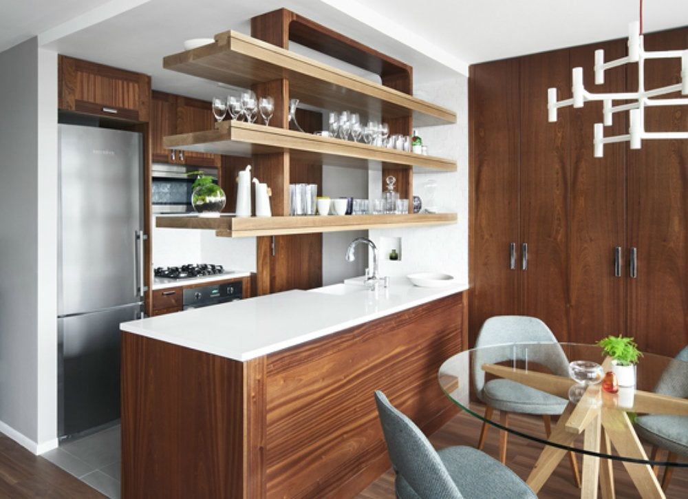Small galley kitchen open storage over island