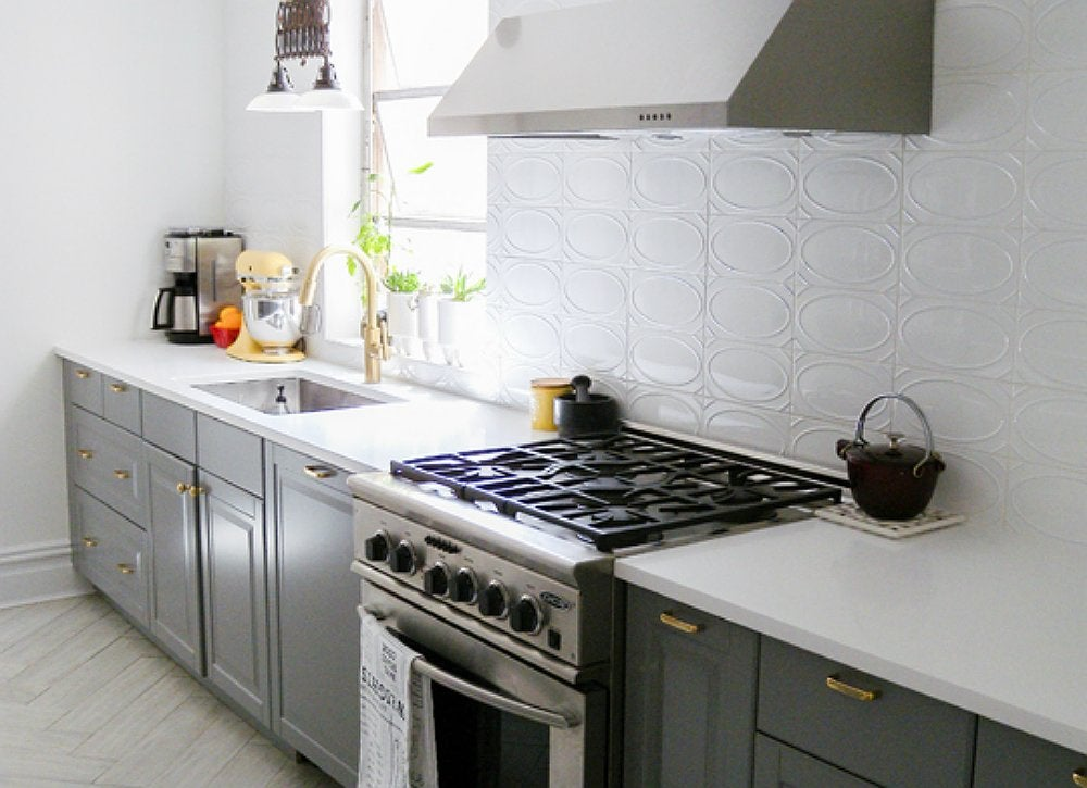 Gray kitchen with vintage and modern features