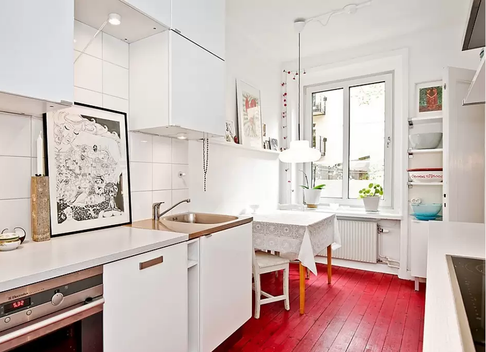 Tiny kitchen painted floors white cabinets