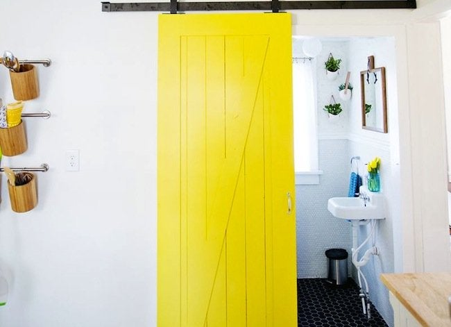 Yellow sliding door