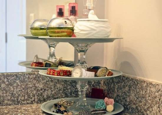 Cake Plate Storage in the Bathroom