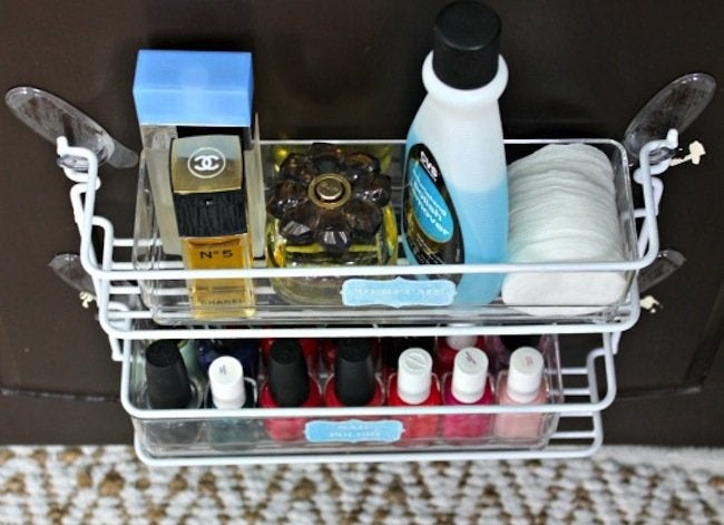 Storage basket bathroom cabinet