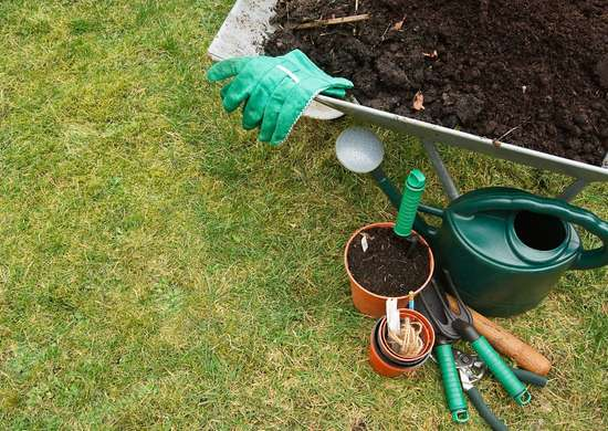 Leaving gardening supplies on the lawn