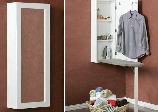 Double duty mirror ironing board