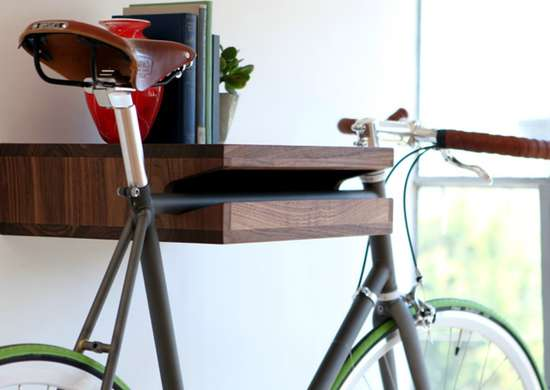 Double duty bookshelf and bike rack