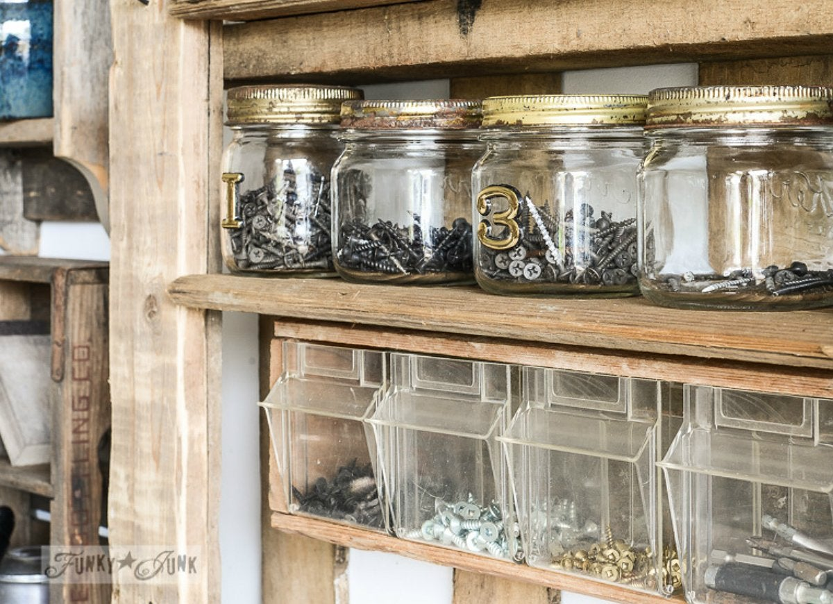 Repurpose old jars as hardware workshop organizers