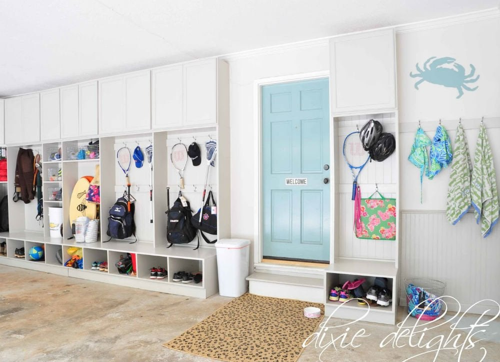 Diy garage storage 12 ideas to steal bob vila for Garage mudroom