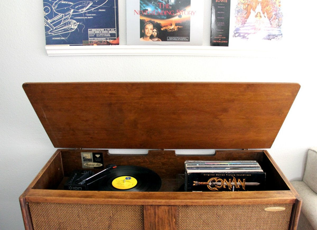 Record-player-stereo-console