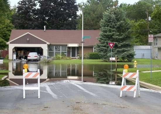 Sunken foundation flood damage
