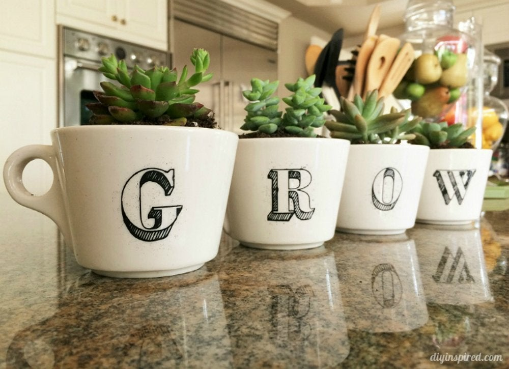 Diy coffee cup planters