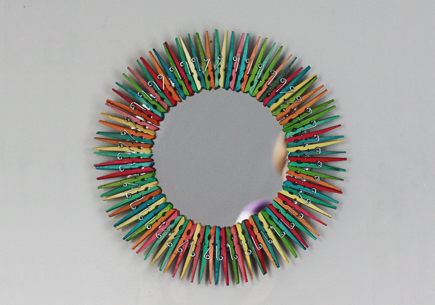 Diy colorful clothespin mirror