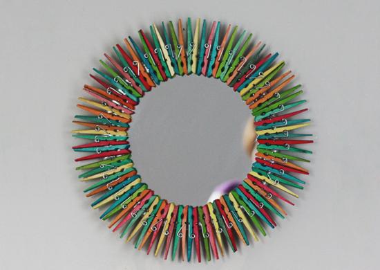 Diy colorful clothespin mirror