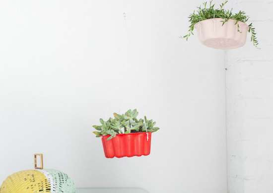 Hanging bundt cake planters