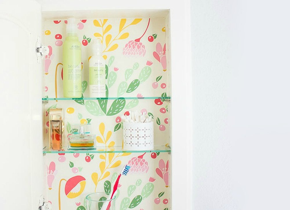 Contact paper medicine cabinet makeover