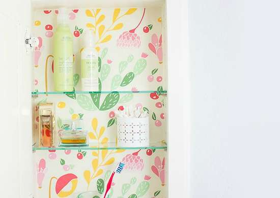 Contact-paper-medicine-cabinet-makeover
